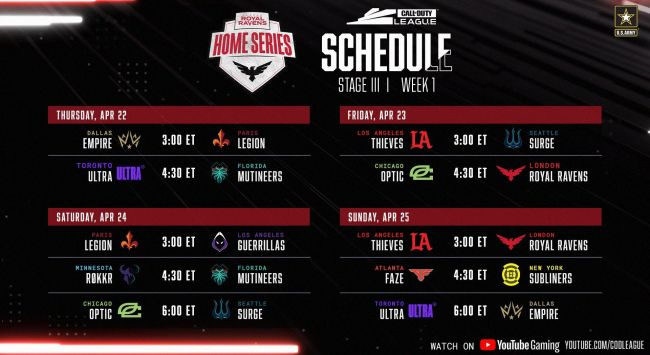 Call of Duty League announces Stage 3 schedule